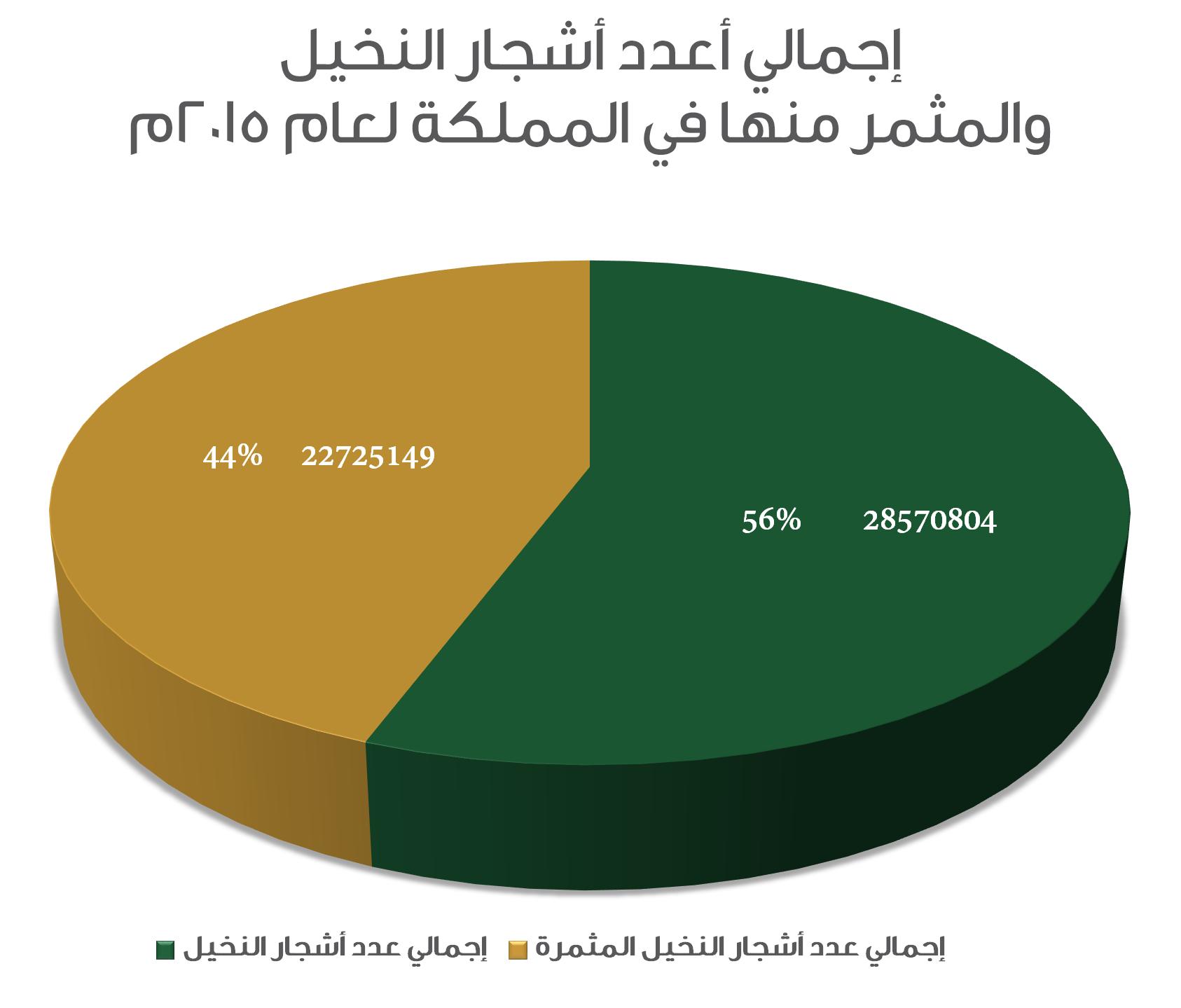 إجمالي أعداد أشجار النخيل والمثمر منها لعام 2015